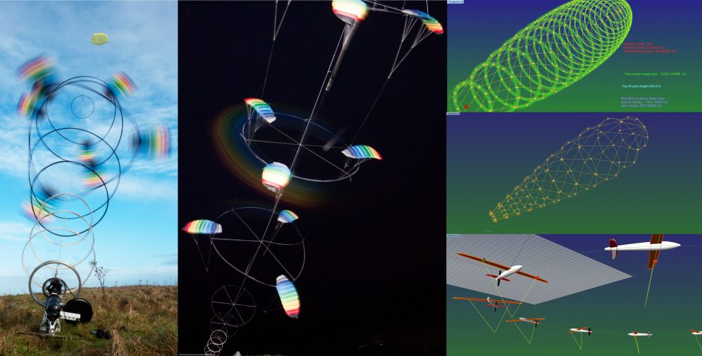 A collection of stacked kite turbine prototypes flying in the day and at night. Also a collection of larger scale design concepts using rigid kite wings